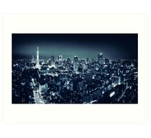 Panoramic city scenery of Tokyo and Tokyo tower Black and white art photo print Art Print