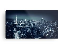 Panoramic city scenery of Tokyo and Tokyo tower Black and white art photo print Metal Print