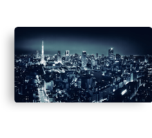Panoramic city scenery of Tokyo and Tokyo tower Black and white art photo print Canvas Print