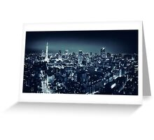 Panoramic city scenery of Tokyo and Tokyo tower Black and white art photo print Greeting Card