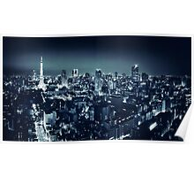 Panoramic city scenery of Tokyo and Tokyo tower Black and white art photo print Poster