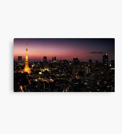 Panoramic city scenery of Tokyo and Tokyo tower art photo print Canvas Print