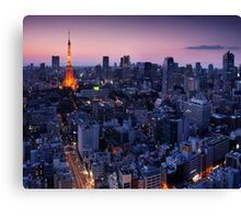Tokyo tower illuminated in twilight art photo print Canvas Print