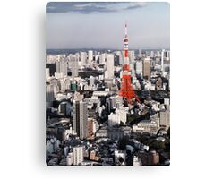 Red Tokyo Tower surrounded by Tokyo city buildings art photo print Canvas Print