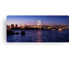 Beautiful panoramic scenery of the Rainbow bridge in Tokyo at night art photo print Canvas Print