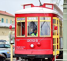 Red Tram in New Orleans by LemonMeringue