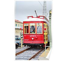 Red Tram in New Orleans Poster