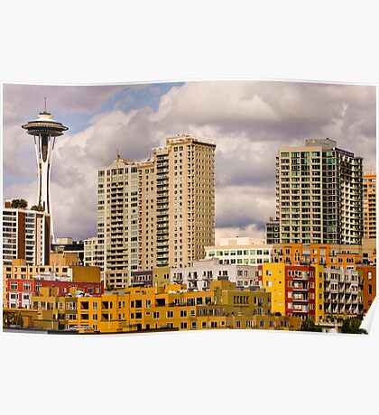 Colorful Buildings and Space Needle Poster