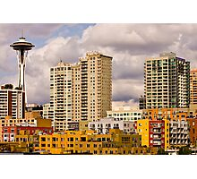 Colorful Buildings and Space Needle Photographic Print