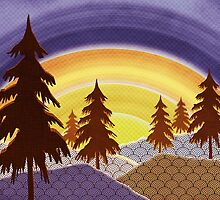 Pine Forest Sunset by SRowe Art