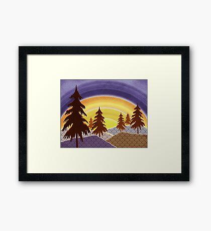 Pine Forest Sunset Framed Print
