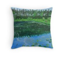 Forest pond with angler Throw Pillow