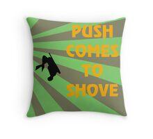 Push Comes To Shove - Retro Throw Pillow
