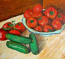 Vase with tomatoes by Peter Pesta