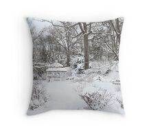 Snowy in Greenwich, CT Throw Pillow