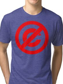 Public Domain Symbol, Copyleft [Red Ink] Tri-blend T-Shirt