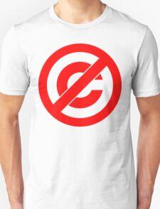 Public Domain Symbol, Copyleft [Red Ink] T-Shirt