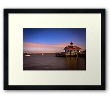 Roanoke Marshes Lighthouse at Dusk Framed Print