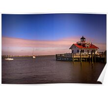 Roanoke Marshes Lighthouse at Dusk Poster