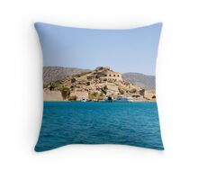 The Old Venetian Fort, Spinalonga Island, Crete Throw Pillow