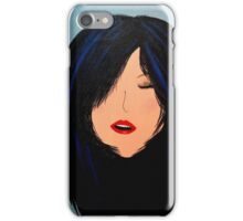 Red lips with blue hair iPhone Case/Skin