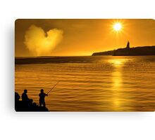 silhouette of father and son loving fishing in Ireland Canvas Print