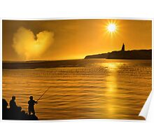 silhouette of father and son loving fishing in Ireland Poster