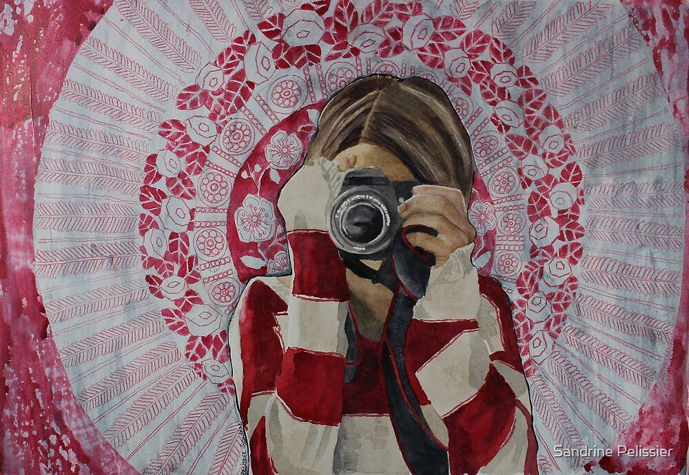 Selfie, watercolor and mixed media on paper by Sandrine Pelissier