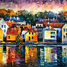 CITY ON RIVER by Leonid  Afremov