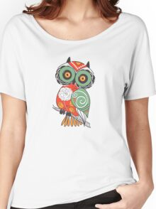 Colorful Cartoon Cute Floral Owl Women's Relaxed Fit T-Shirt