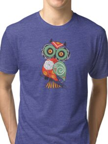 Colorful Cartoon Cute Floral Owl Tri-blend T-Shirt