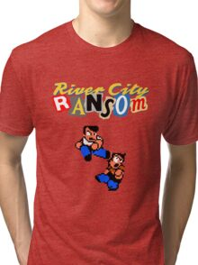 River City Ransom Shirt (Logo w/ 8-Bit Characters) Tri-blend T-Shirt