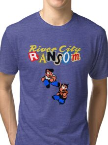 River City Ransom Shirt (Logo w/ 8-Bit Characters) Tri-blend T-Shirt