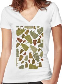 Doctor Who - DALEK Camouflage TEE Women's Fitted V-Neck T-Shirt
