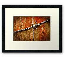 Barbed Wire on Wood Framed Print