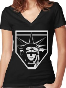 Voltron Liberty (b/w) Women's Fitted V-Neck T-Shirt