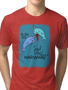 """""""Oh Shit Bro!"""" - Narwhals [Apparel & Transparent Stickers] Tri-blend T-Shirt"""