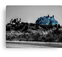 Blue Mansion By The Sea Canvas Print