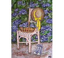 Still Life with flowers on chair 1 Photographic Print