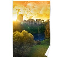 Autumn sunset over Lismore castle and blackwater river Poster
