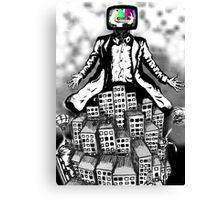 TV rule the city Canvas Print