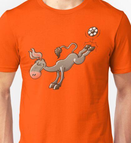 Donkey Shooting a Soccer Ball Unisex T-Shirt