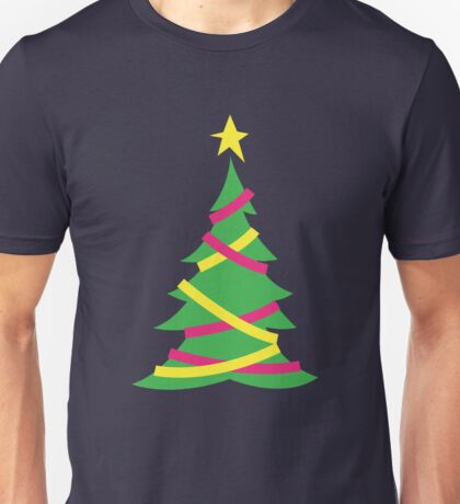 Simple decorated Christmas tree with tinsel Unisex T-Shirt