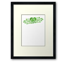Computer geek love handshake chips Framed Print