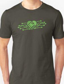 Computer geek love handshake chips Unisex T-Shirt