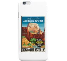 Zion National Park Vintage Art iPhone Case/Skin