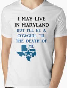 DIE HARD MARYLAND COWGIRL  Mens V-Neck T-Shirt