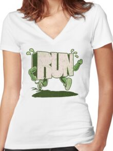 Run! Women's Fitted V-Neck T-Shirt