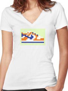 8-bit Kicks (Supa) Women's Fitted V-Neck T-Shirt