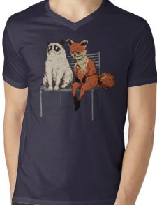 Grumpy Cat and Fox Mens V-Neck T-Shirt